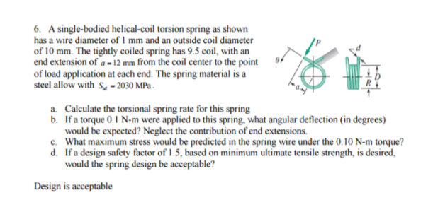 Solved a single bodied helical coil torsion spring as sho a single bodied helical coil torsion spring as shown has a wire keyboard keysfo Choice Image