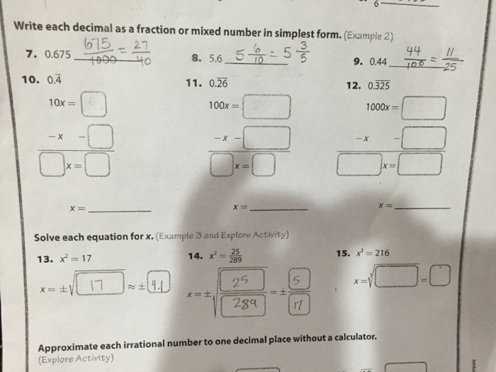 Question Write Each Decimal As A Fraction Or Mixed Number In Simplest Form    26