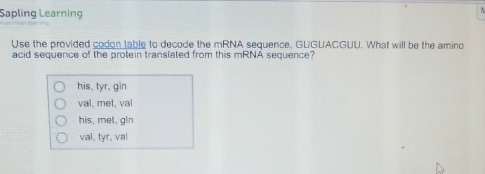 Protein Codon Table Part - 20: Question: Use the provided codon table to decode the mRNA sequence,  GUGUACGUU. What will be the amino acid .
