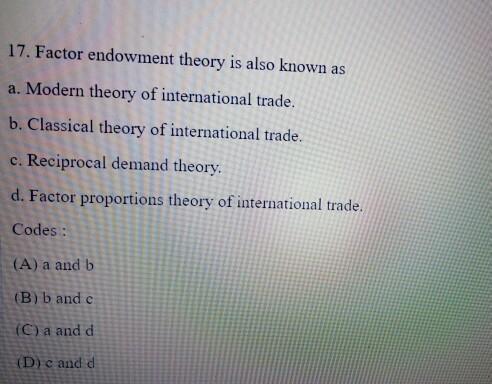 factor endowment theory of international trade