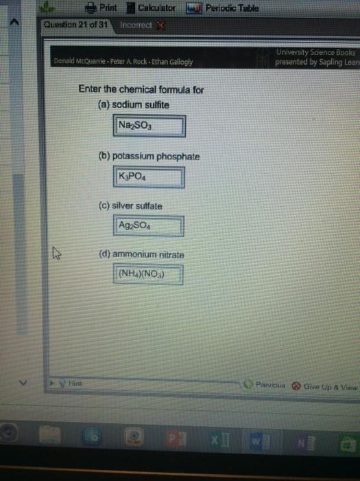 Solved Enter The Chemical Formula For Sodium Sulfite Pota