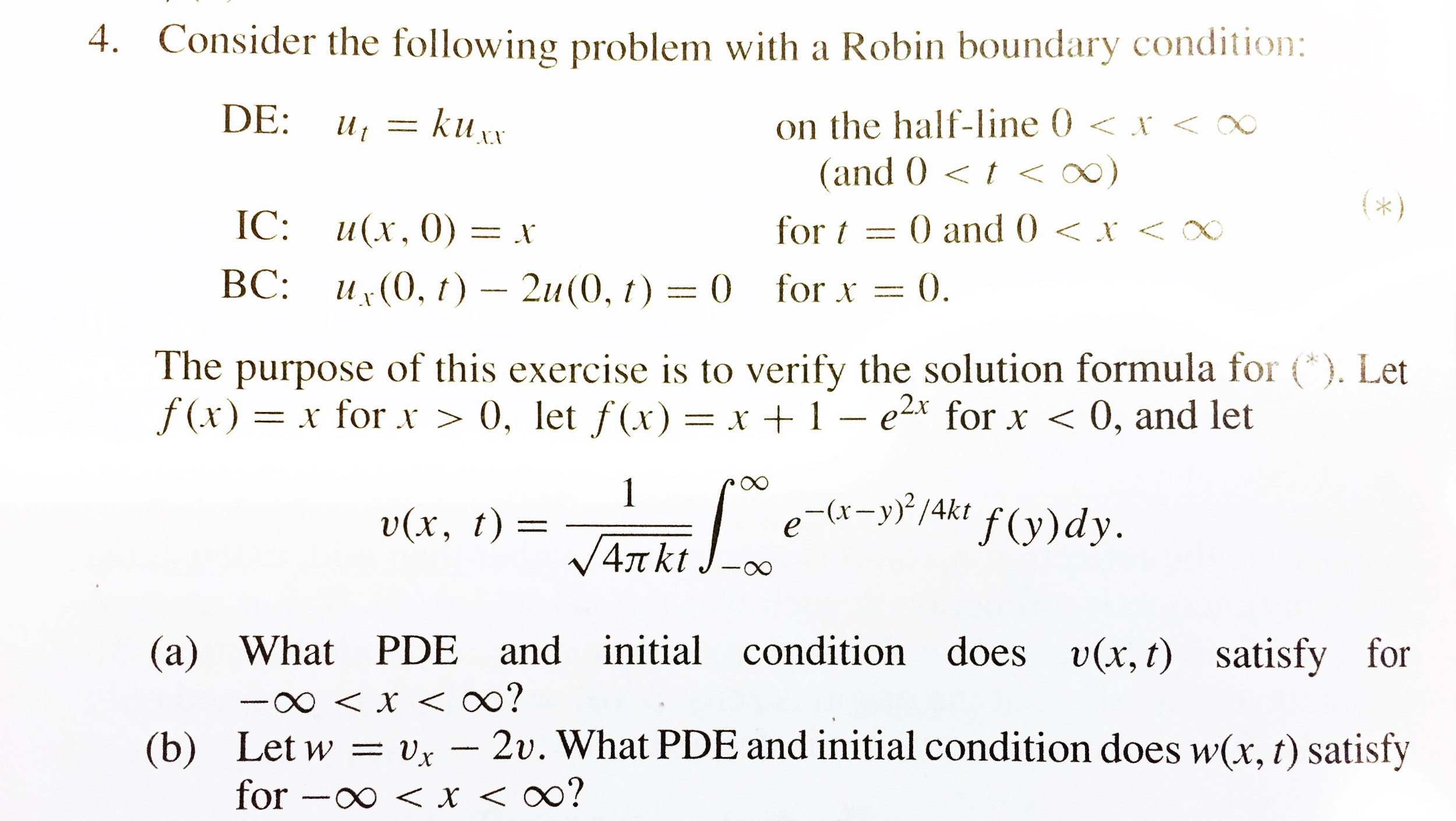 Partial differential equations problem 4. a) and b