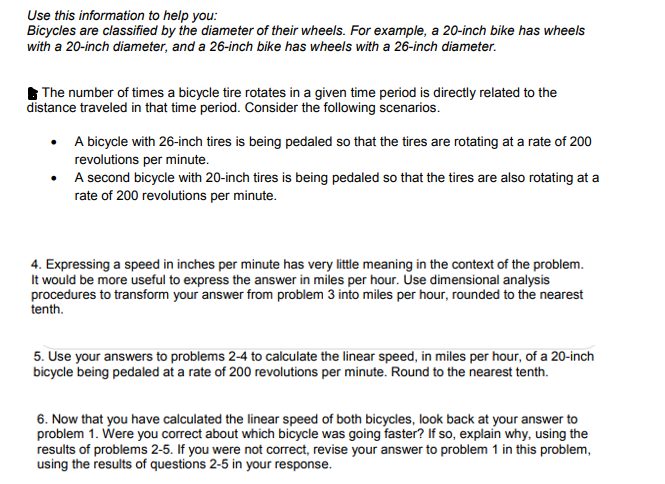 Solved Use This Information To Help You Bicycles Are Cla