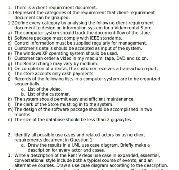 Solved kindly solve question number 2 which deals with um 1 there is a client requirement document 11represent the categories of the ccuart Image collections