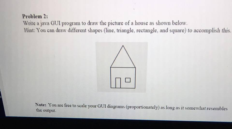 Solved Problem 2 Write A Java Gui Program To Draw The Pic