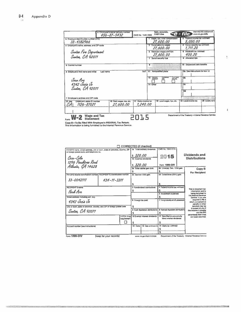 Noah And Joan Arcs Tax Return Please Use The Irs Chegg