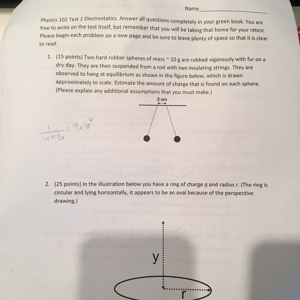 Solved Name Physics 10 Free To Write On The Test Itself