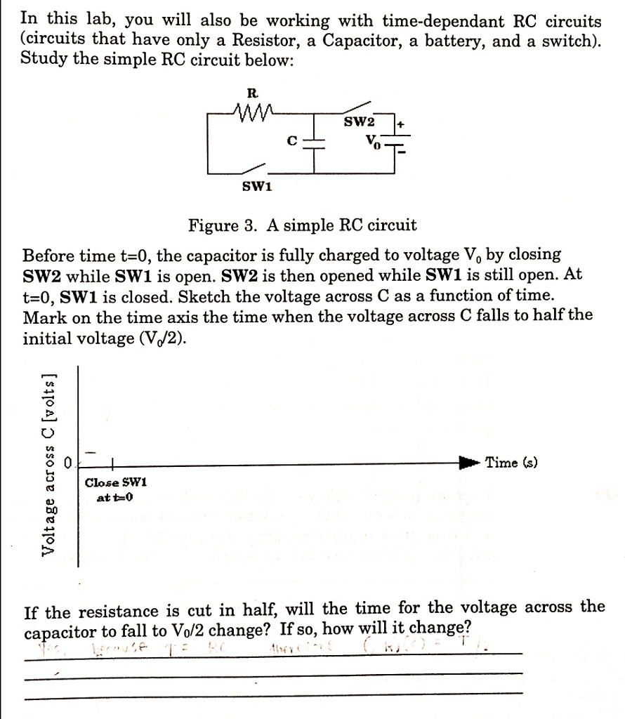 Solved: Sketch The Voltage Across C As A Function Of Time