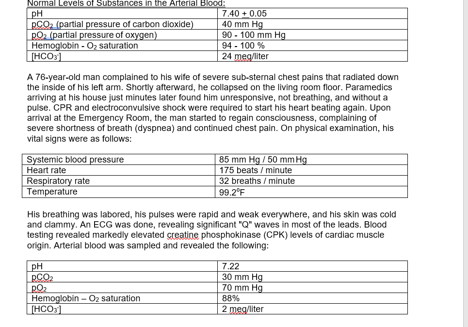 Normal Levels of substances in the Arterial Blood 7.40 0.05 pCO2 (partial  pressure of carbon