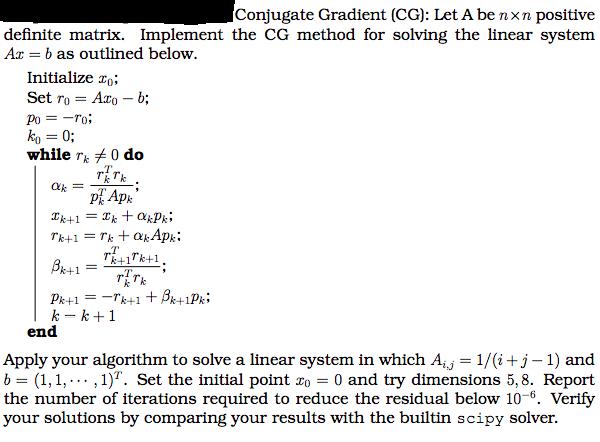Conjugate Gradient (CG): Let A Be N×n Positive Def