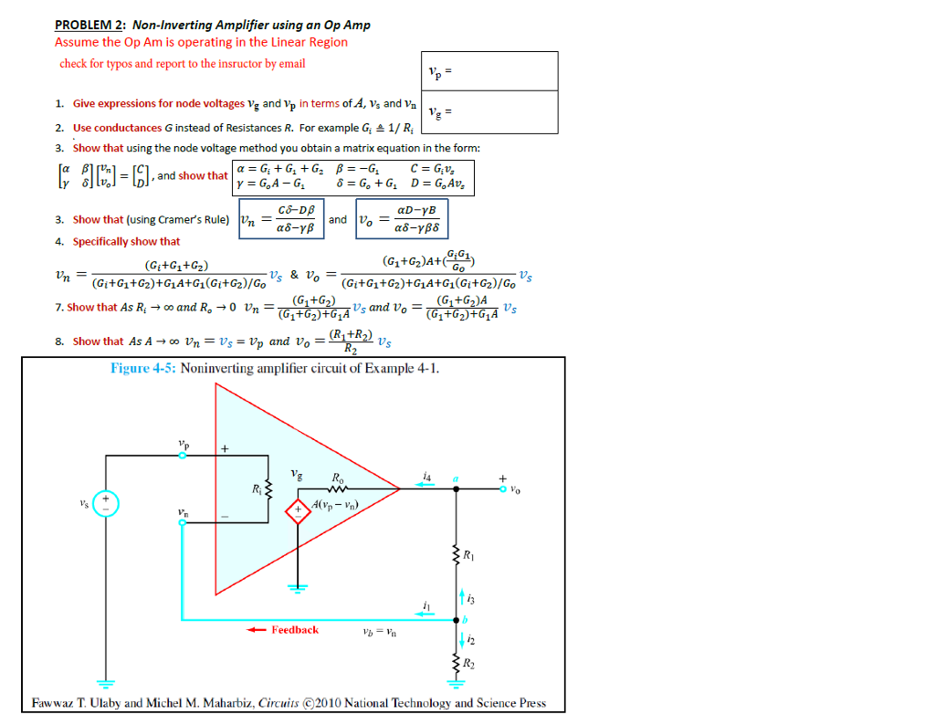 Solved Problem 2 Non Inverting Amplifier Using An Op Amp Zero Method Circuit Diagram Amplifiercircuit Assume The Am Is