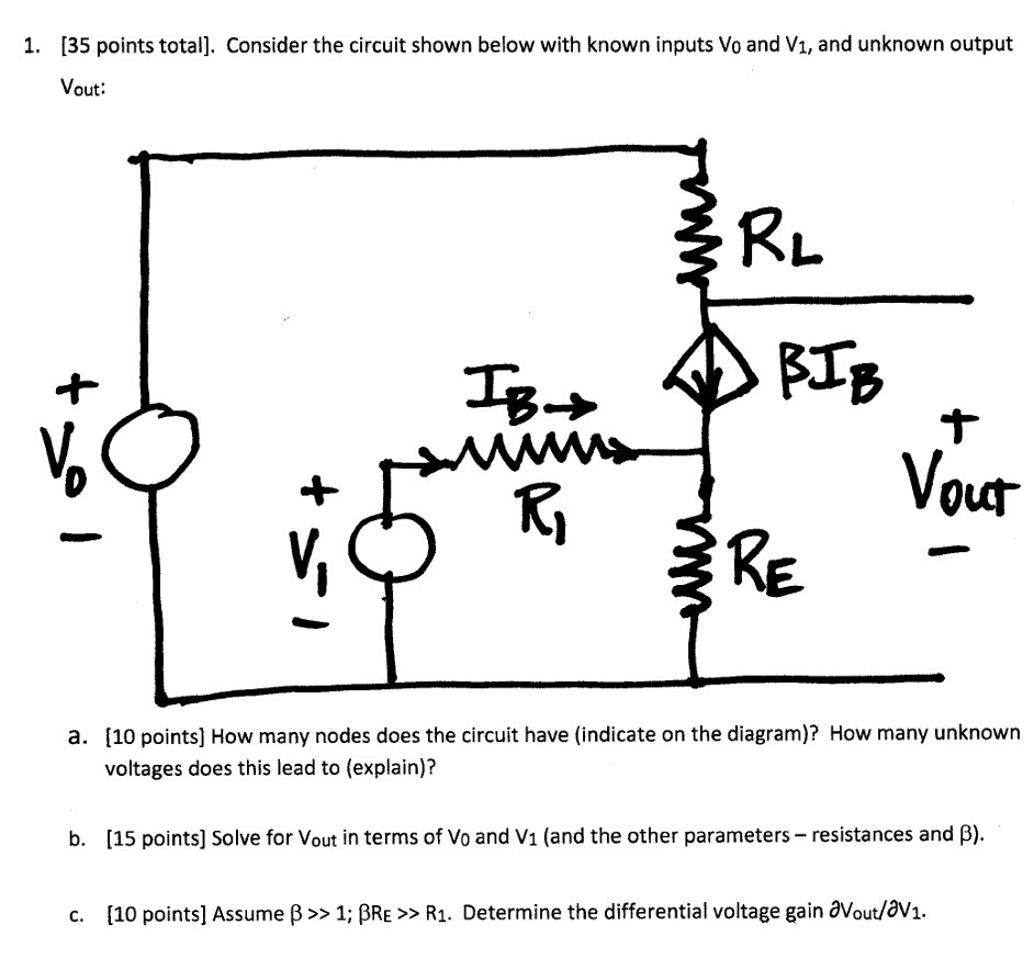 Solved D Let V0 20 Volts Rl 1 K Re 100 For The Parallel Circuit Shown Below Calculate Total Resistance 35 Points Consider With Known Inputs