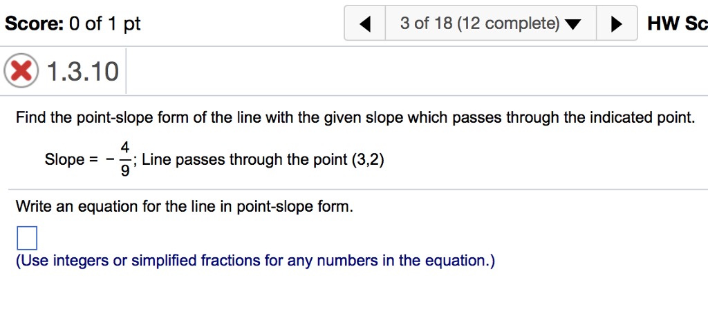 Solved Find The Point Slope Form Of The Line With The Giv