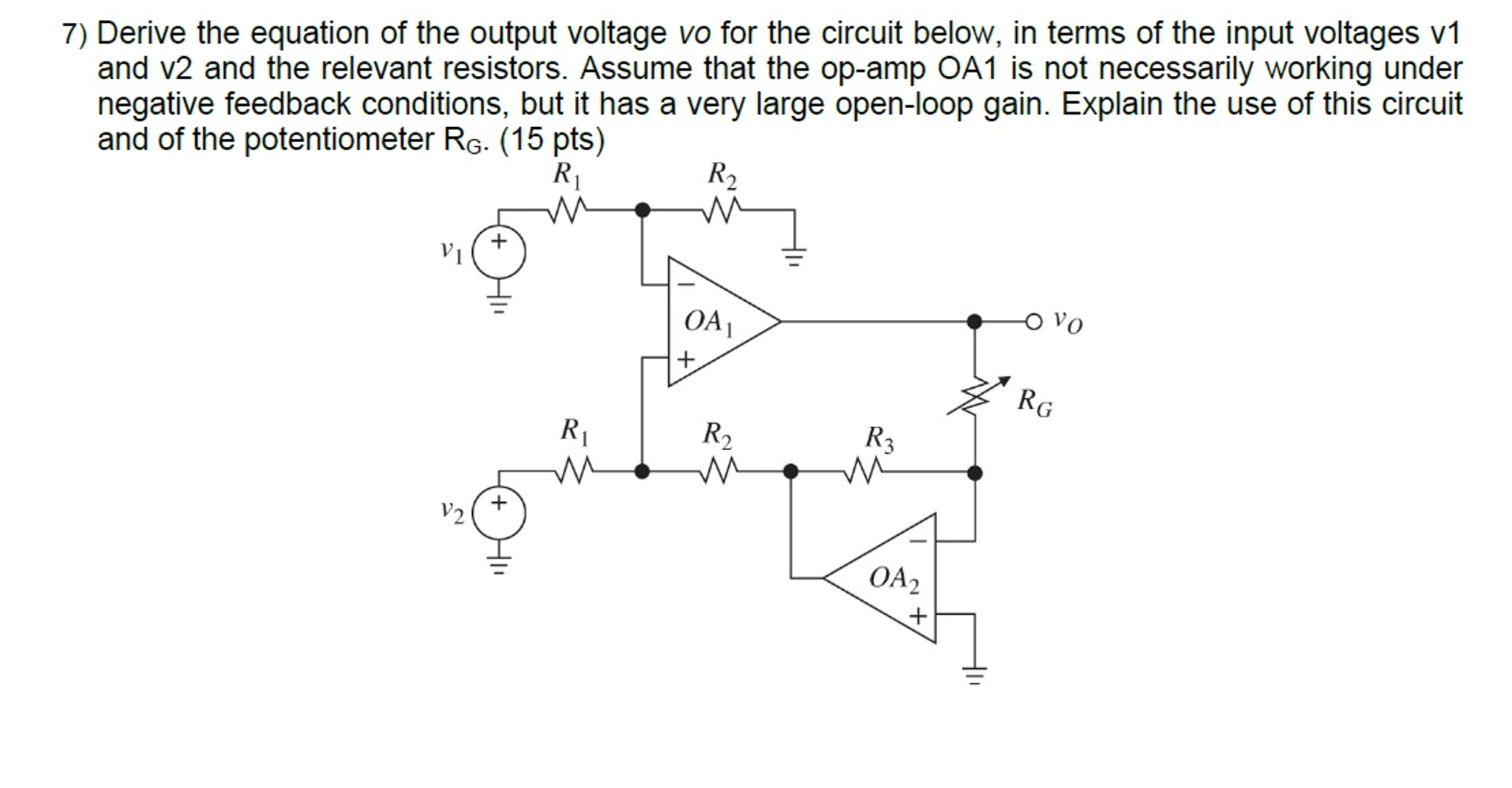 Solved Derive The Equation Of Output Voltage Vo For T Working Resistors