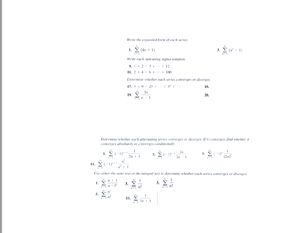 Solved write the expanded form of each series l 4n 1 chegg question write the expanded form of each series l 4n 1 3 m2 1 write each sum using sigma notat falaconquin