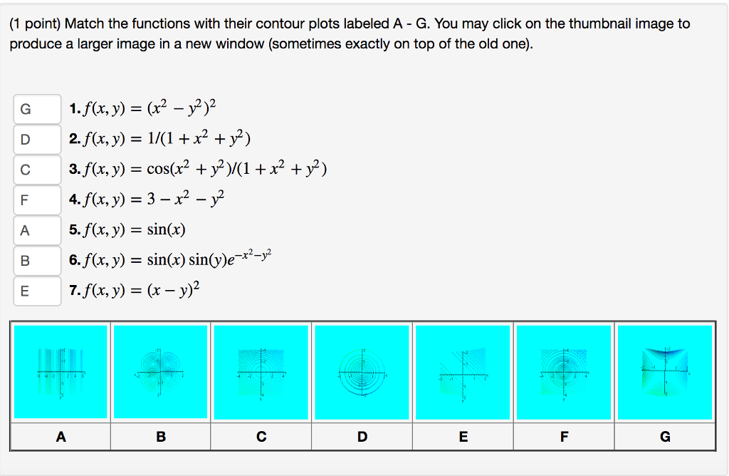 0265c32e993 (1 point) Match the functions with their contour plots labeled A - G.