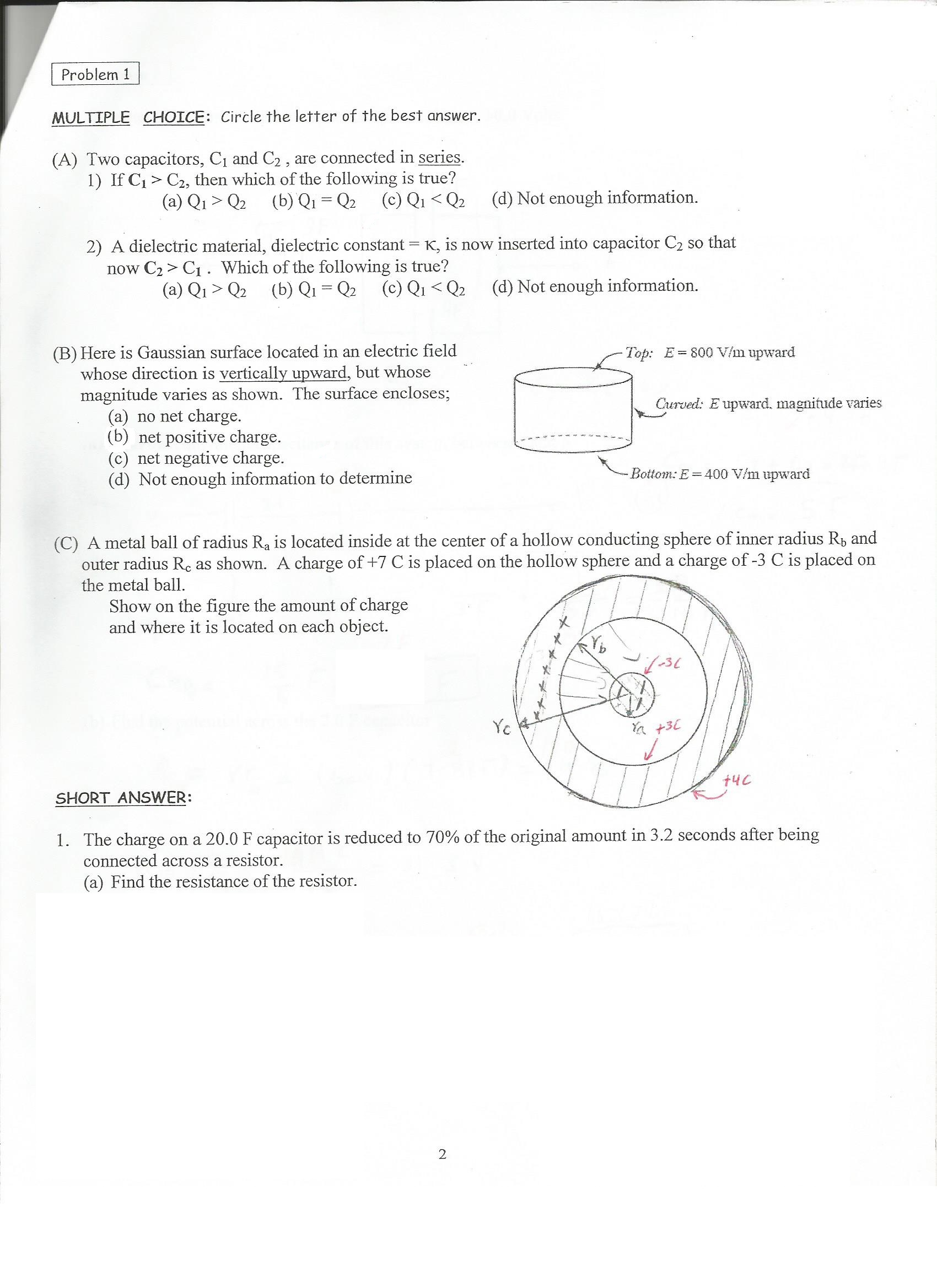 Solved Two Capacitors C1 And C2 Are Connected In Serie Find The Equivalent Resistance Re Of Circuit S Cheggcom Question Series If Then Which Following Is T