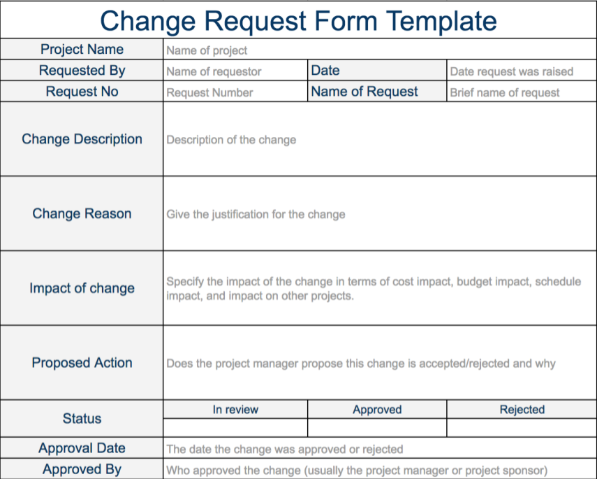 Project change request template | exceltemple.
