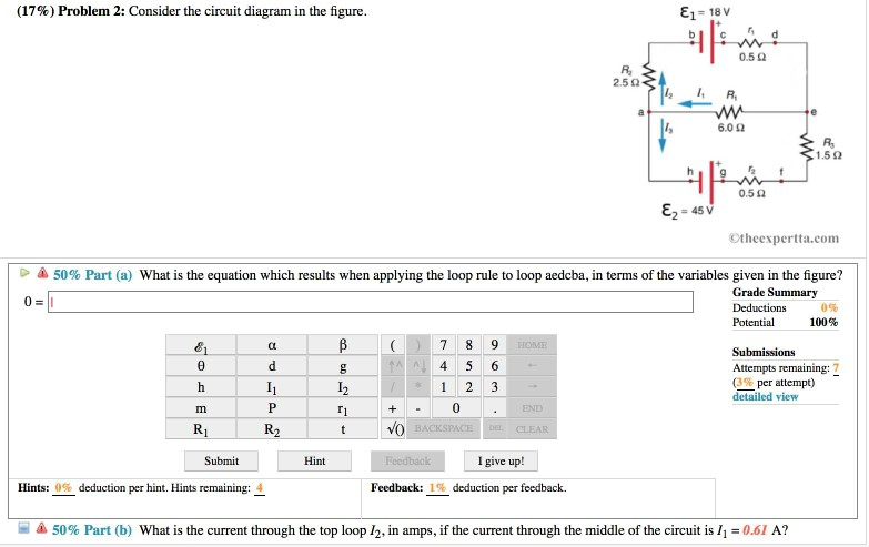 Solved: (17%) Problem 2: Consider The Circuit Diagram In T ...