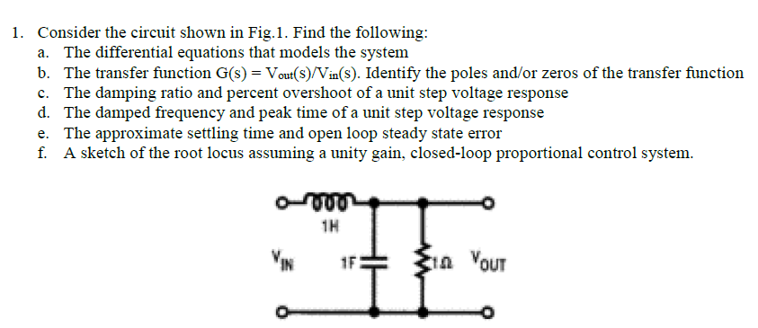 Solved: 1  Consider The Circuit Shown In Fig 1  Find The F