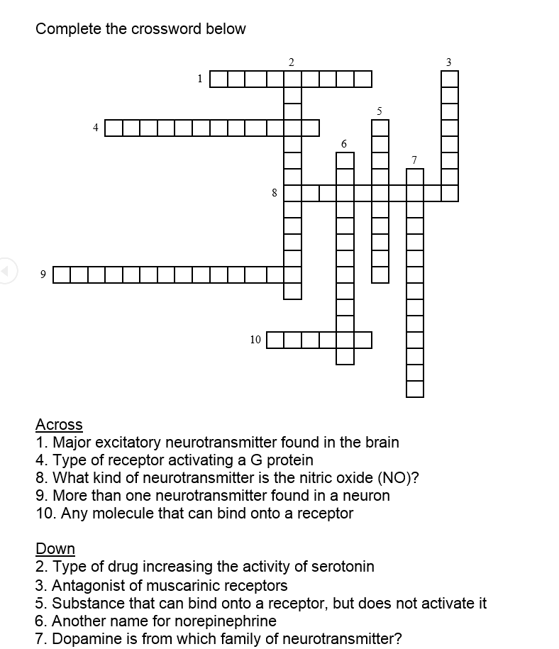 Solved complete the crossword below major excitatory neur complete the crossword below major excitatory neu ccuart Image collections