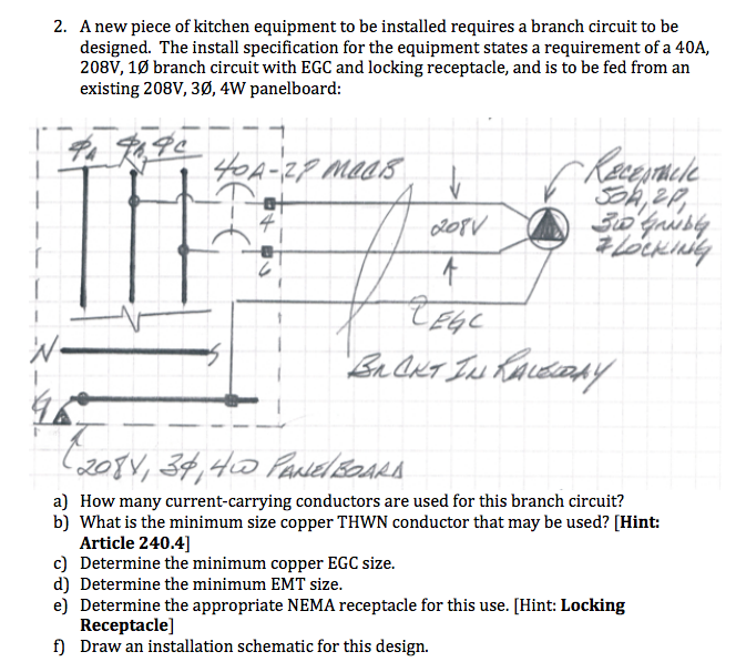 208v receptacle wiring diagram 2 a new piece of kitchen equipment to be installe chegg com  2 a new piece of kitchen equipment to