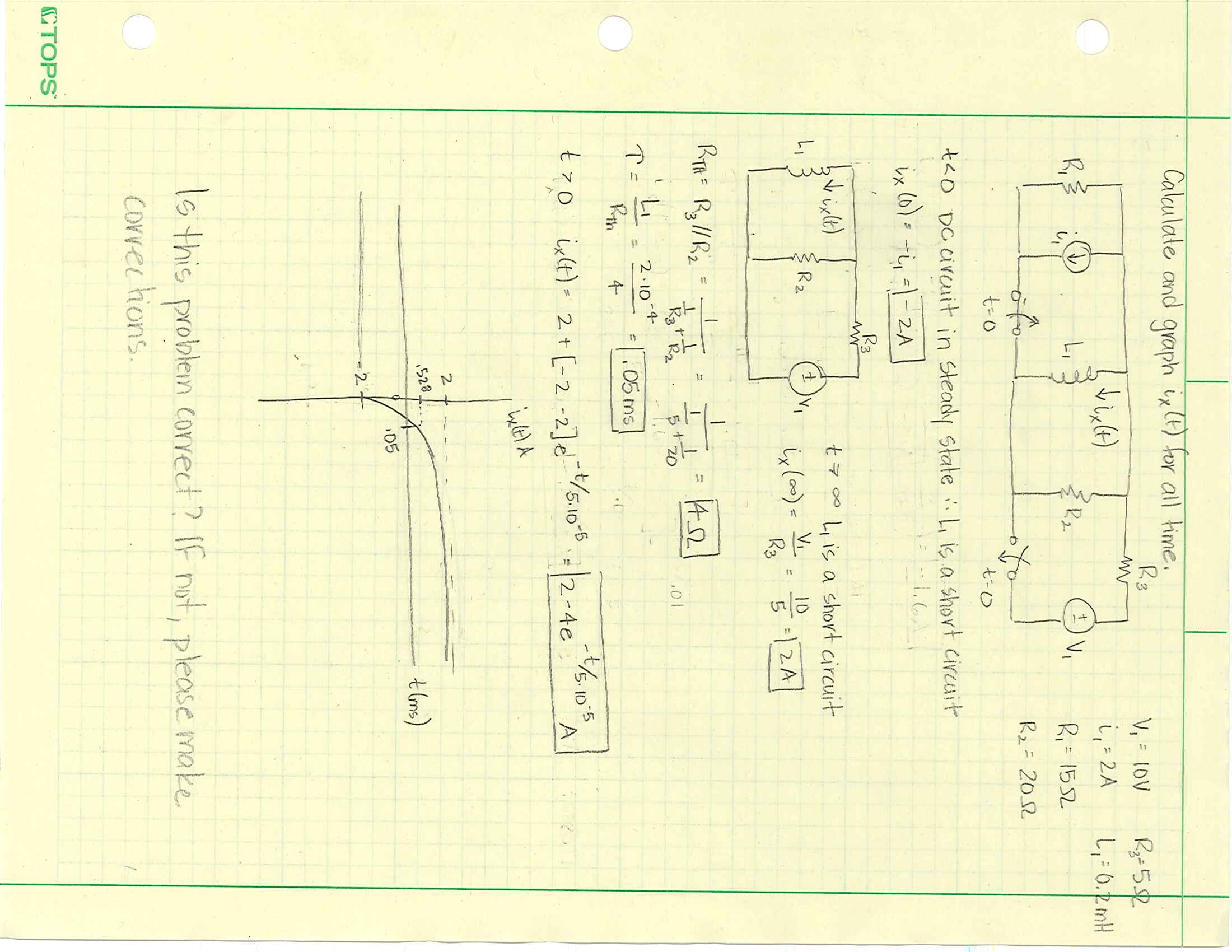 Solved Calculate And Graph I X T For All Time 0 Dc Circuit Calculations