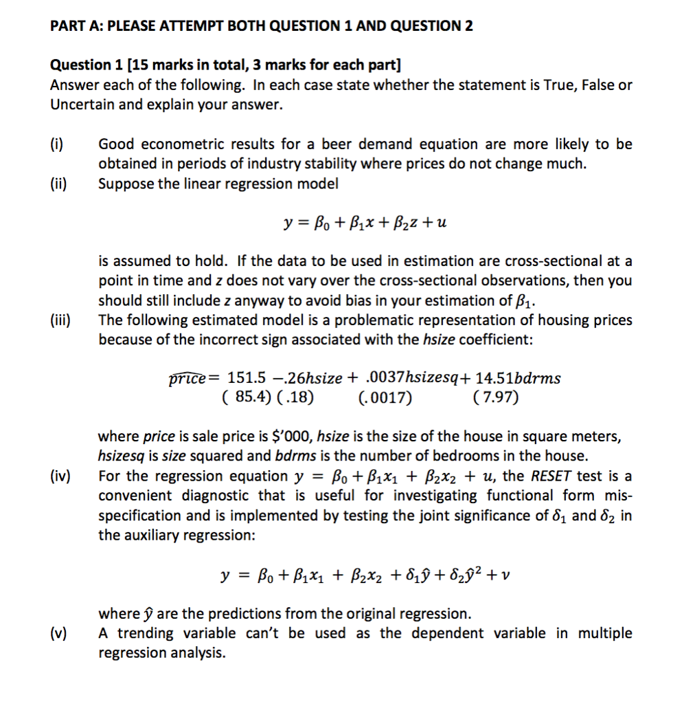 Solved: Answer Each Of The Following. In Each Case State W ...