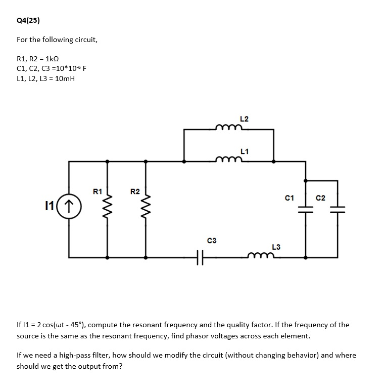 Solved: For The Following Circuit, R1, R2 = 1k Ohm C1, C2 ...