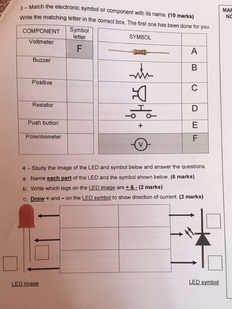 Solved Match The Electronic Symbol Or Component With Its
