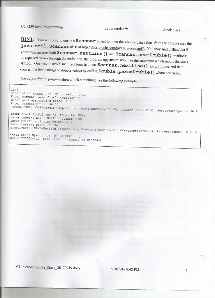 Solved Cit 239 Java Programming Lab Exercise 9a Stock Cla