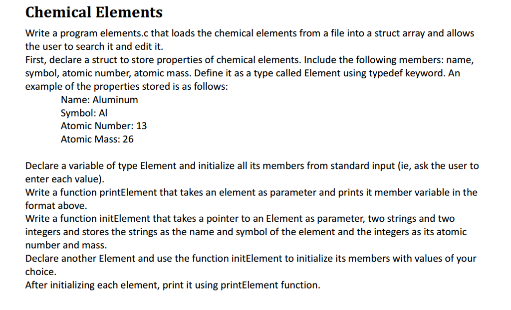 Solved Write A Program Elementsc That Loads The Chemical