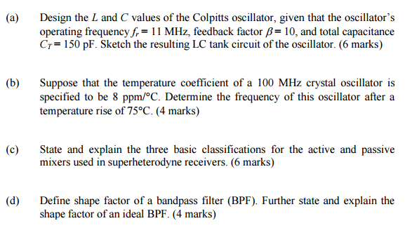 Solved: Design The L And C Values Of The Colpitts Oscillat