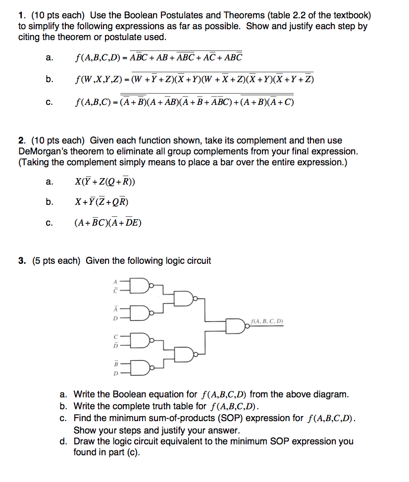 Solved 1 10 Pts Each Use The Boolean Postulates And Th By Simplifying Circuit With Equivalent Ac We Get Theorems Table 22