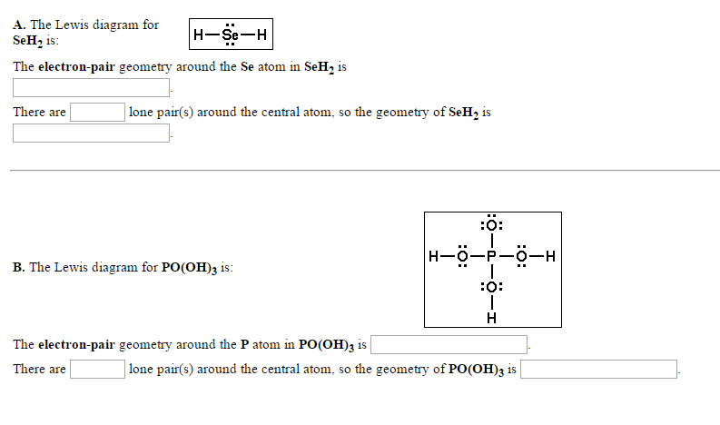 Solved The Lewis Diagram For Seh2 Is The Electron Pair