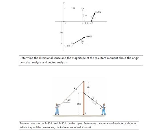 Solved: 4m  260 N 0 2m--0 5 M 400 N 30° Determine The Dire