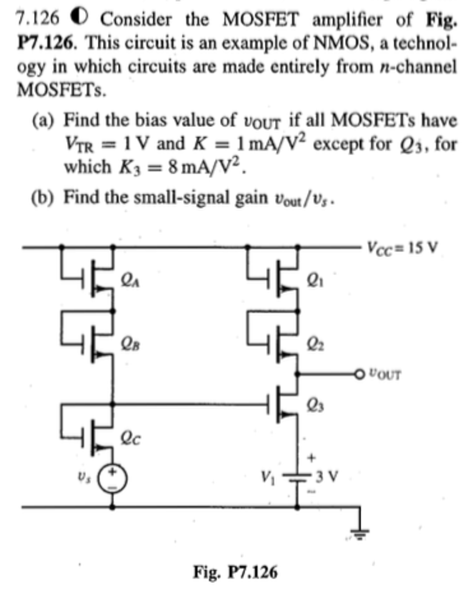 Solved Consider The Mosfet Amplifier Of Fig P7126 This Circuits