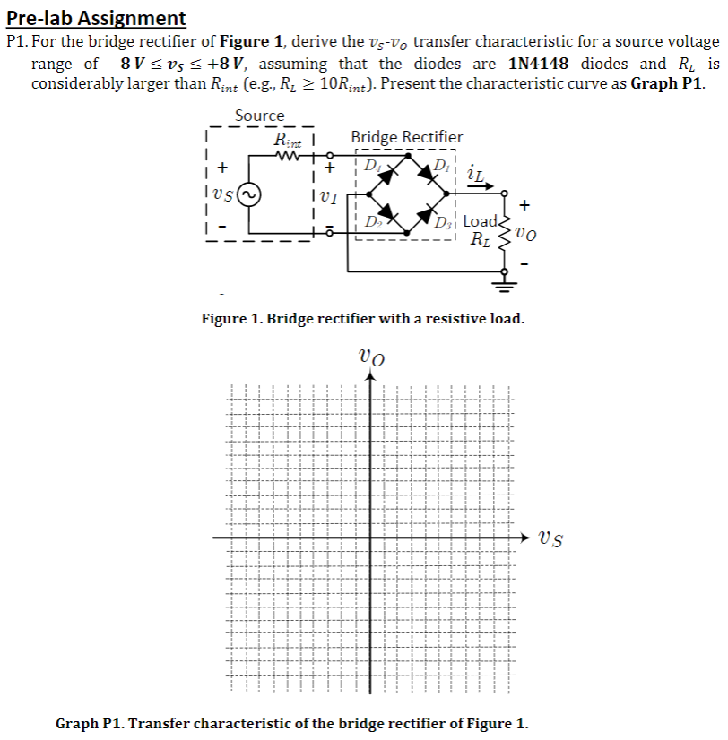 Solved Pre Lab Assignment P1 For The Bridge Rectifier Of