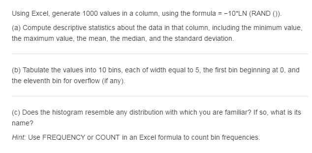 solved  using excel  generate 1000 values in a column  usi