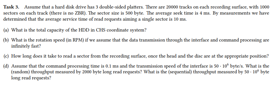 Task 3  Assume That A Hard Disk Drive Has 3 Double    | Chegg com