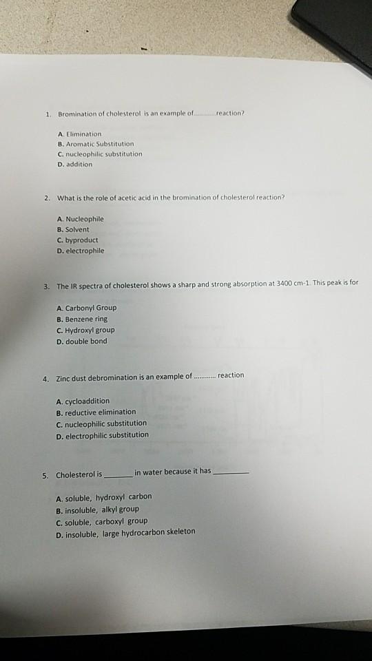 debromination of cholesterol