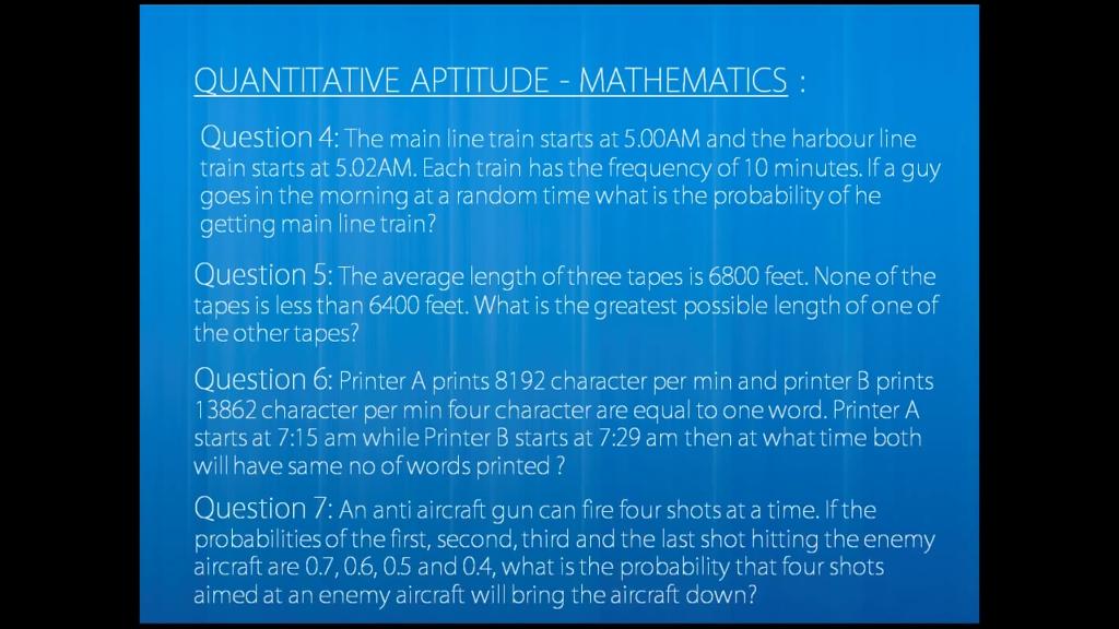 Solved: QUANTITATVE APTITUDE - MATHEMATICS: Question 4: Th