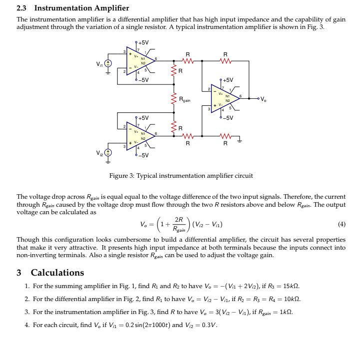 Solved: Ra R, +5V Vo -5V Figure 1: Summing Amplifier Circuit