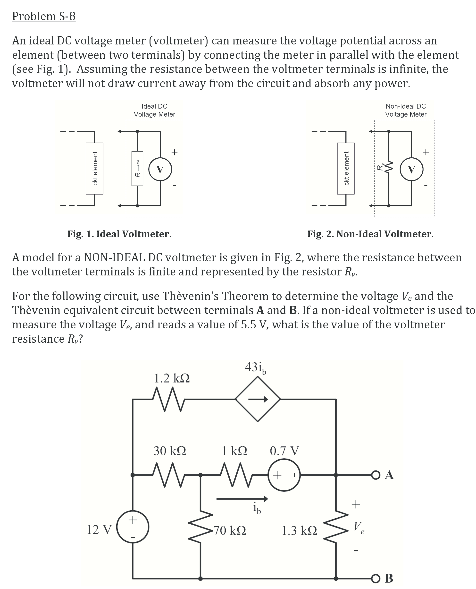 Problem S 8 An Ideal Dc Voltage Meter Voltmeter Find The Equivalent Resistance Re Of Circuit Cheggcom Question Can Measure Potential Across Ele