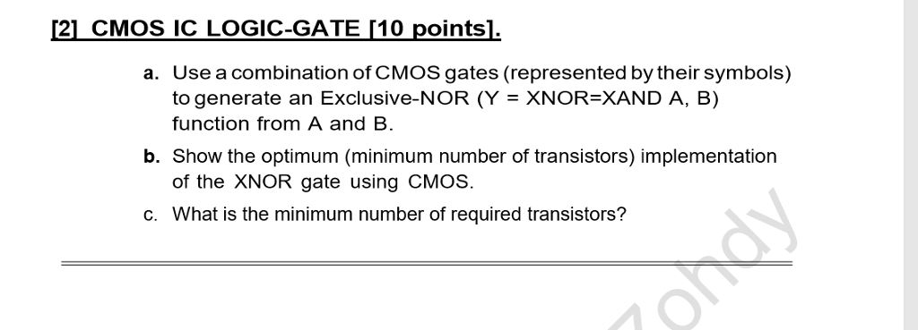 Solved 121 Cmos Ic Logic Gate10 Points Usea Combinatio