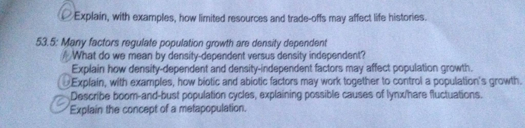 Solved Many Factors Regulate Population Growth Are Densit
