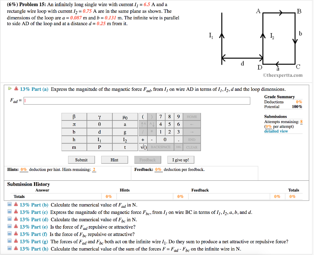 Solved: (6%) Problem 15: An Infinitely Long Single Wire Wi ...