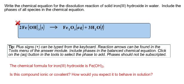 Solved Write The Chemical Equation For The Dissolution Re