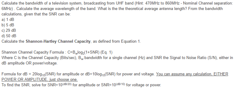 Solved: Calculate The Bandwidth Of A Television System, Br