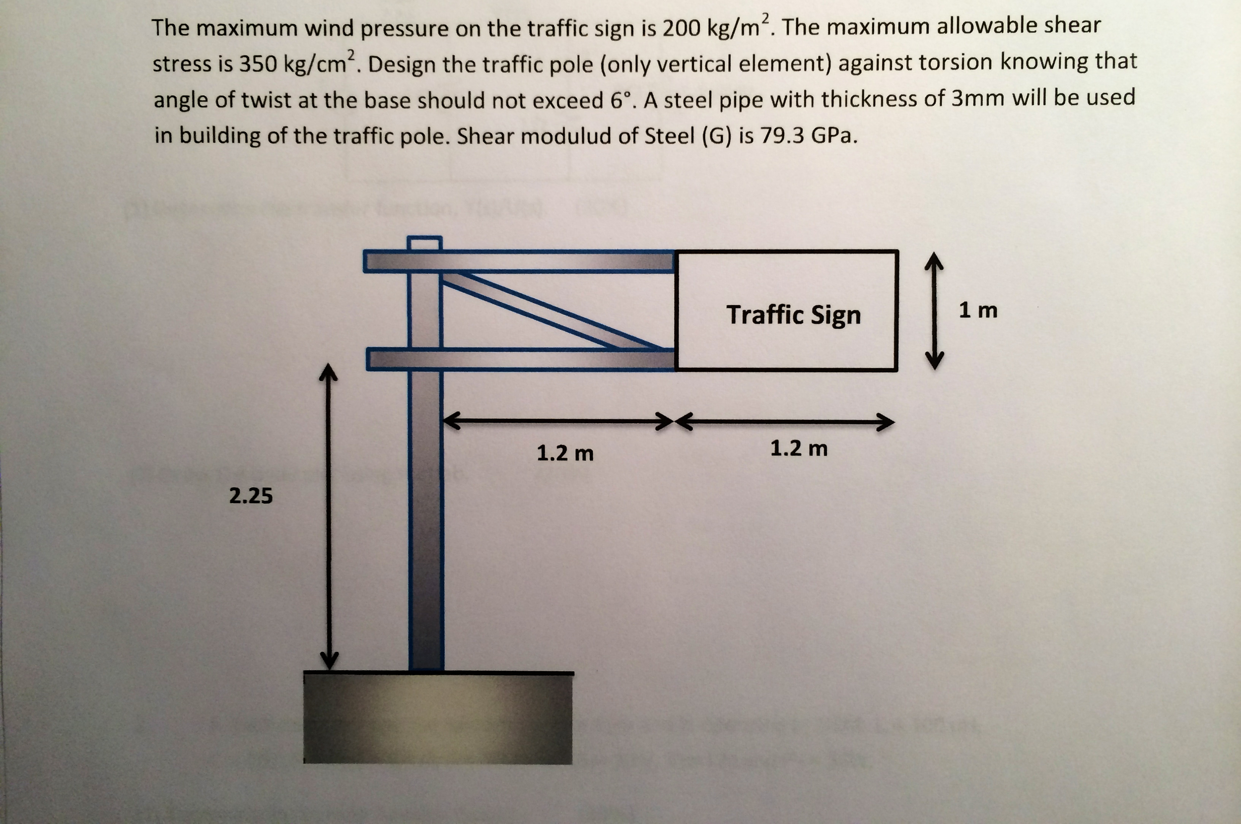The maximum wind pressure on the traffic sign is 2